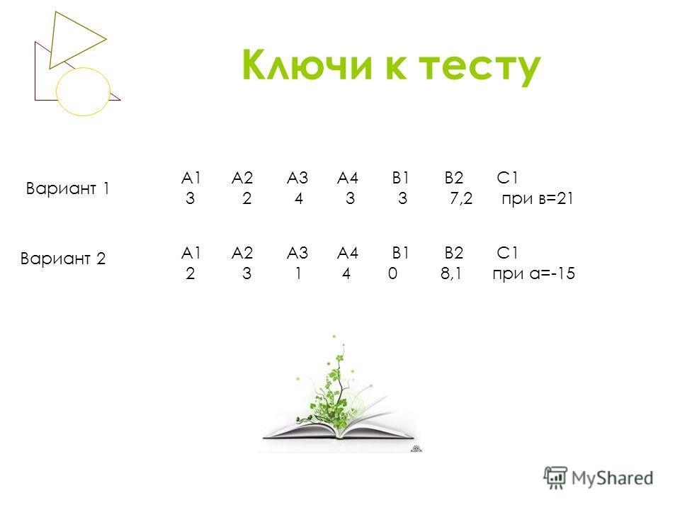 Ключи к тесту Вариант 1 Вариант 2 А1 А2 А3 А4 В1 В2 С1 3 2 4 3 3 7,2 при в=21 А1 А2 А3 А4 В1 В2 С1 2 3 1 4 0 8,1 при а=-15