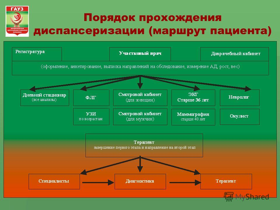 Порядок прохождения диспансеризации (маршрут пациента)