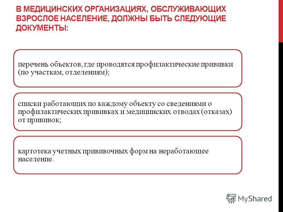 В МЕДИЦИНСКИХ ОРГАНИЗАЦИЯХ, ОБСЛУЖИВАЮЩИХ ВЗРОСЛОЕ НАСЕЛЕНИЕ, ДОЛЖНЫ БЫТЬ СЛЕДУЮЩИЕ ДОКУМЕНТЫ: перечень объектов, где проводятся профилактические прививки (по участкам, отделениям); списки работающих по каждому объекту со сведениями о профилактически