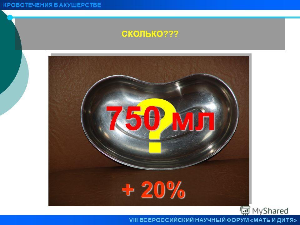 СКОЛЬКО??? КРОВОТЕЧЕНИЯ В АКУШЕРСТВЕ VIII ВСЕРОССИЙСКИЙ НАУЧНЫЙ ФОРУМ «МАТЬ И ДИТЯ» 750 мл + 20%