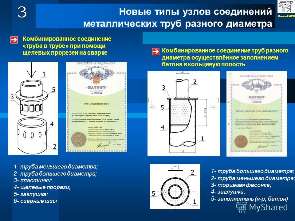 Новые типы узлов соединений металлических труб разного диаметра Комбинированное соединение «труба в трубе» при помощи щелевых прорезей на сварке 1- труба меньшего диаметра; 2- труба большего диаметра; 3- пластинки; 4- щелевые прорези; 5- заглушка; 6-