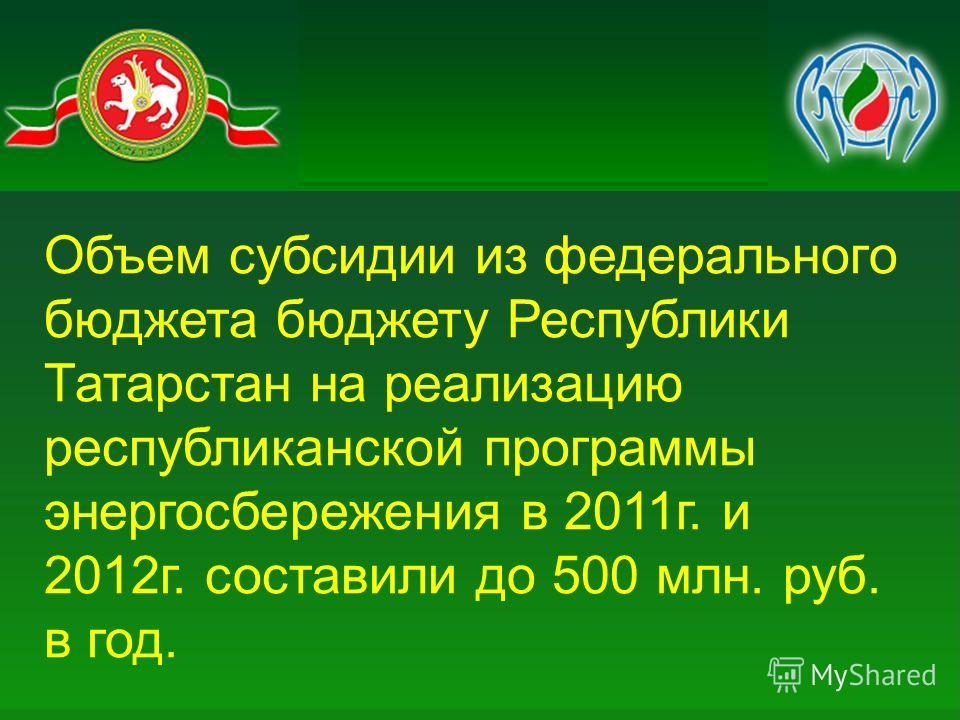Объем субсидии из федерального бюджета бюджету Республики Татарстан на реализацию республиканской программы энергосбережения в 2011г. и 2012г. составили до 500 млн. руб. в год.