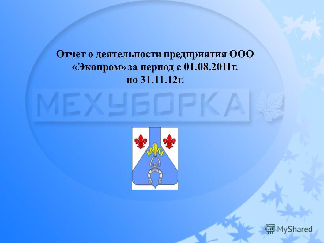 Отчет о деятельности предприятия ООО «Экопром» за период с 01.08.2011г. по 31.11.12г.