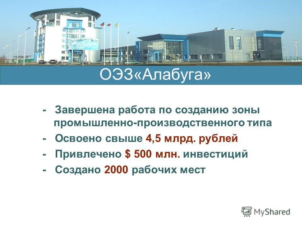 - Завершена работа по созданию зоны промышленно-производственного типа - Освоено свыше 4,5 млрд. рублей - Привлечено $ 500 млн. инвестиций - Создано 2000 рабочих мест ОЭЗ«Алабуга»
