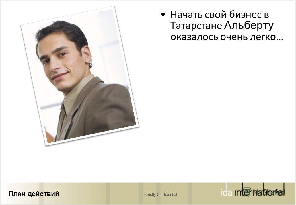 Strictly Confidential. Начать свой бизнес в Татарстане Альберту оказалось очень легко… 16 План действий