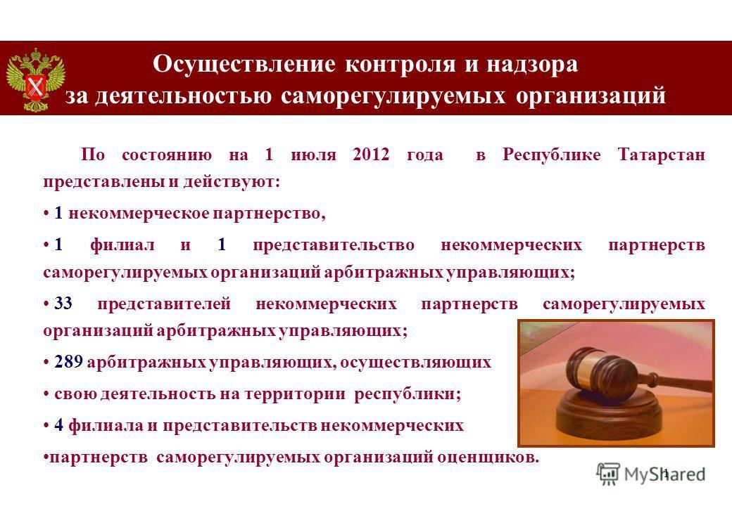 1 Осуществление контроля и надзора за деятельностью cаморегулируемых организаций По состоянию на 1 июля 2012 года в Республике Татарстан представлены и действуют: 1 некоммерческое партнерство, 1 филиал и 1 представительство некоммерческих партнерств