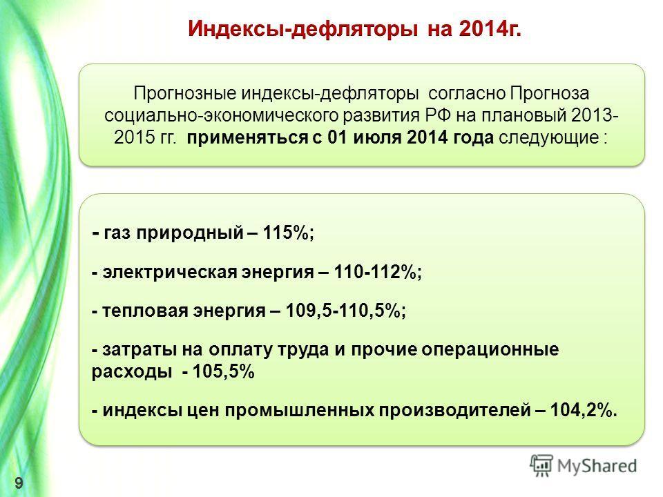 9 - газ природный – 115%; - электрическая энергия – 110-112%; - тепловая энергия – 109,5-110,5%; - затраты на оплату труда и прочие операционные расходы - 105,5% - индексы цен промышленных производителей – 104,2%. - газ природный – 115%; - электричес