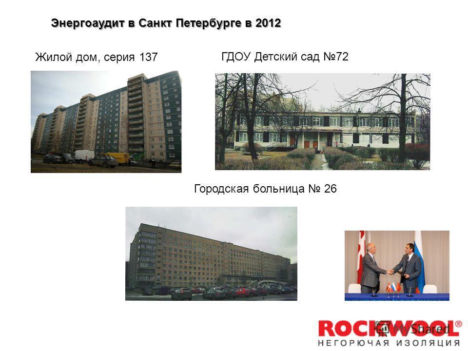 Проведен аудит трех типовых объектов Жилой дом, серия 137 ГДОУ Детский сад 72 Городская больница 26 Энергоаудит в Санкт Петербурге в 2012