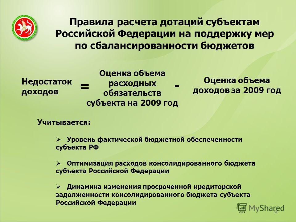 Правила расчета дотаций субъектам Российской Федерации на поддержку мер по сбалансированности бюджетов 30 Недостаток доходов Оценка объема расходных обязательств субъекта на 2009 год Оценка объема доходов за 2009 год = - Учитывается: Уровень фактичес