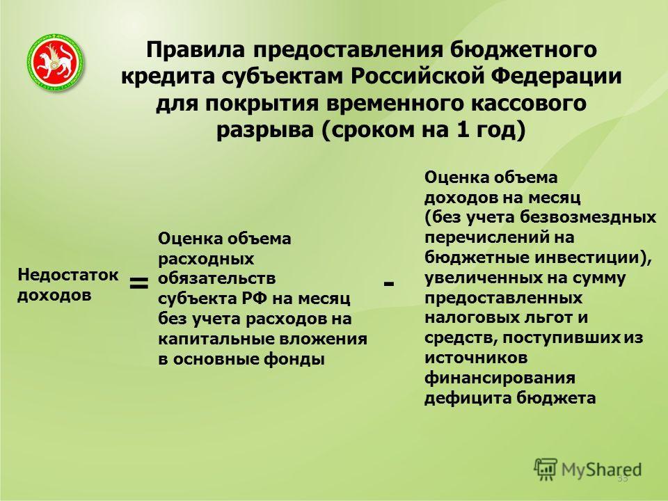 Правила предоставления бюджетного кредита субъектам Российской Федерации для покрытия временного кассового разрыва (сроком на 1 год) 33 Недостаток доходов Оценка объема расходных обязательств субъекта РФ на месяц без учета расходов на капитальные вло