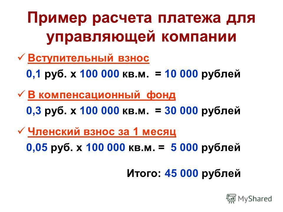 Пример расчета платежа для управляющей компании Вступительный взнос 0,1 руб. х 100 000 кв.м. = 10 000 рублей В компенсационный фонд 0,3 руб. х 100 000 кв.м. = 30 000 рублей Членский взнос за 1 месяц 0,05 руб. х 100 000 кв.м. = 5 000 рублей Итого: 45