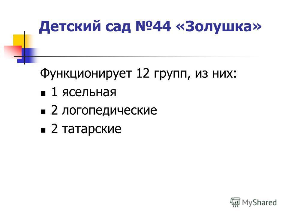 Детский сад 44 «Золушка» Функционирует 12 групп, из них: 1 ясельная 2 логопедические 2 татарские