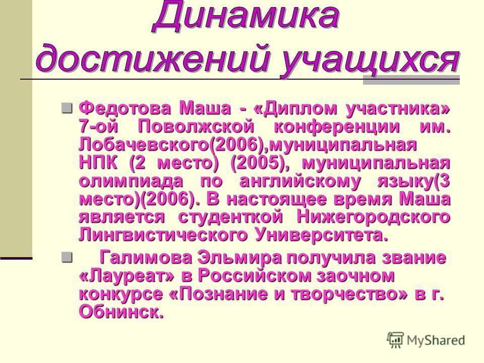 Федотова Маша - «Диплом участника» 7-ой Поволжской конференции им. Лобачевского(2006),муниципальная НПК (2 место) (2005), муниципальная олимпиада по английскому языку(3 место)(2006). В настоящее время Маша является студенткой Нижегородского Лингвисти