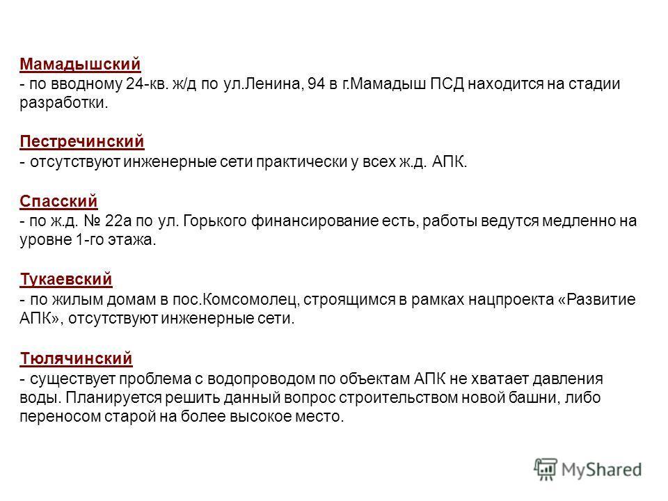 Мамадышский - по вводному 24-кв. ж/д по ул.Ленина, 94 в г.Мамадыш ПСД находится на стадии разработки. Пестречинский - о тсутствуют инженерные сети практически у всех ж.д. АПК. Спасский - по ж.д. 22а по ул. Горького финансирование есть, работы ведутся