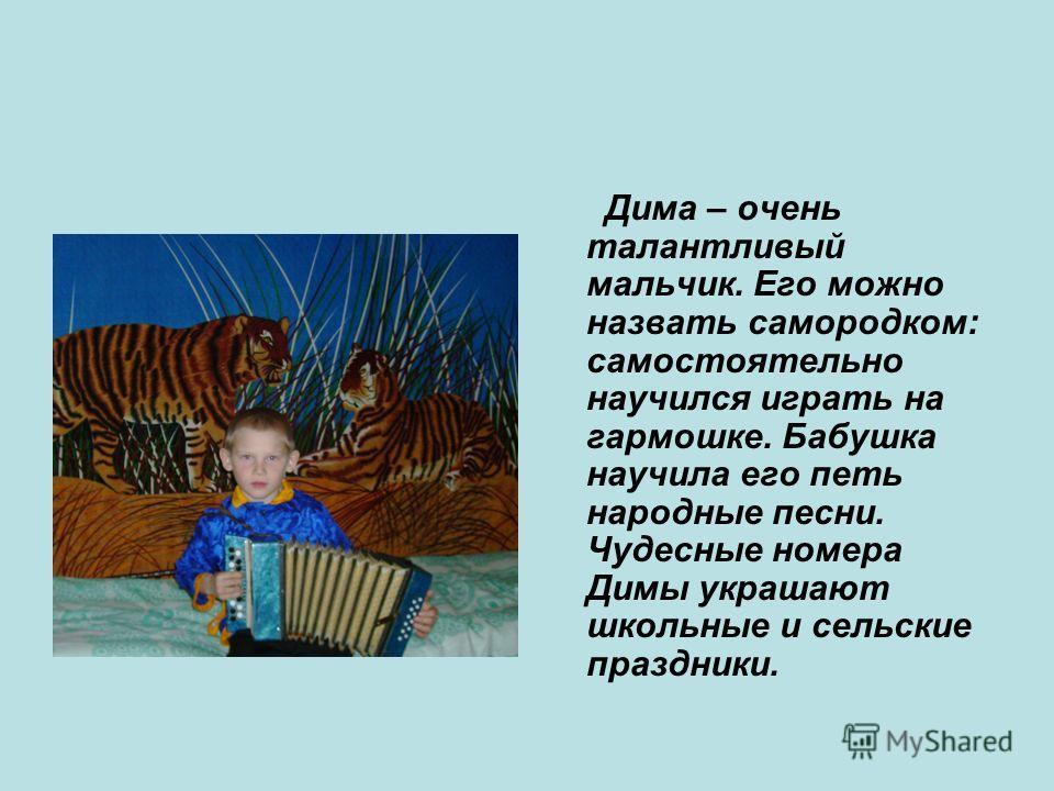 Дима – очень талантливый мальчик. Его можно назвать самородком: самостоятельно научился играть на гармошке. Бабушка научила его петь народные песни. Чудесные номера Димы украшают школьные и сельские праздники.