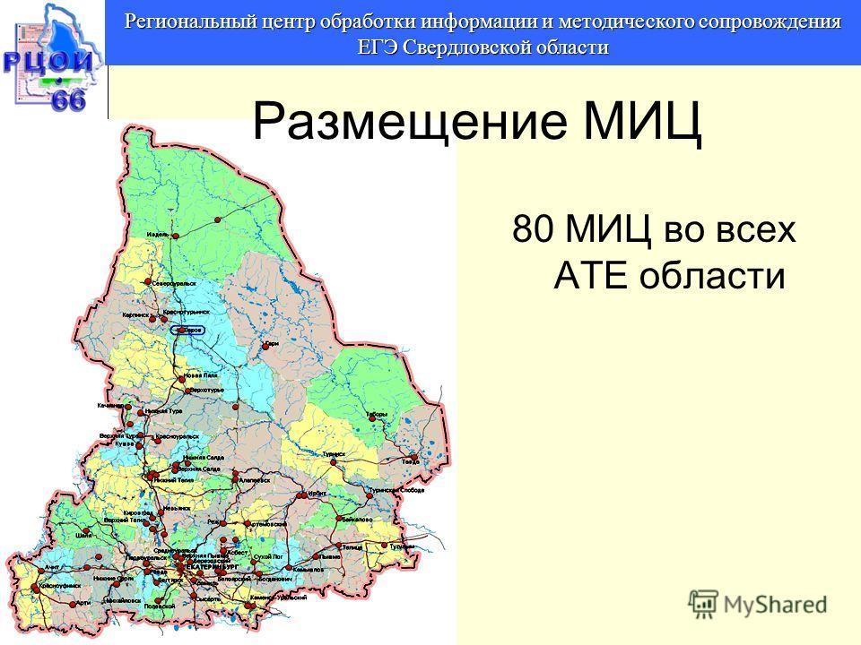 80 МИЦ во всех АТЕ области Региональный центр обработки информации и методического сопровождения ЕГЭ Свердловской области Размещение МИЦ