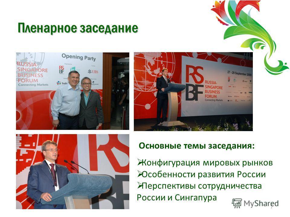 Пленарное заседание 7 Основные темы заседания: Конфигурация мировых рынков Особенности развития России Перспективы сотрудничества России и Сингапура