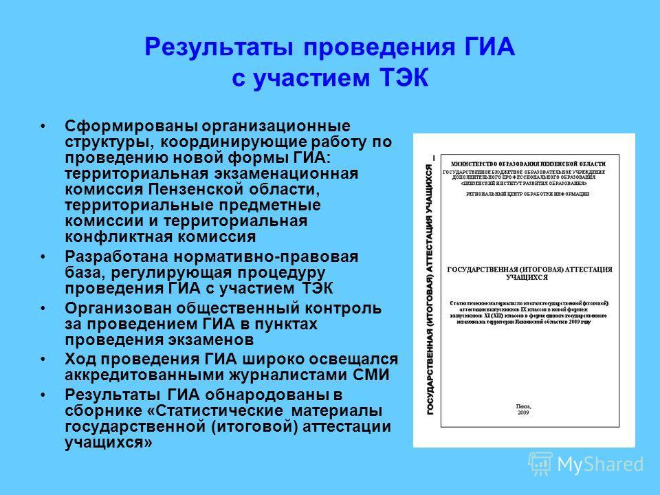 Результаты проведения ГИА с участием ТЭК Сформированы организационные структуры, координирующие работу по проведению новой формы ГИА: территориальная экзаменационная комиссия Пензенской области, территориальные предметные комиссии и территориальная к