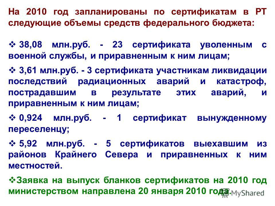 На 2010 год запланированы по сертификатам в РТ следующие объемы средств федерального бюджета: 38,08 млн.руб. - 23 сертификата уволенным с военной службы, и приравненным к ним лицам; 3,61 млн.руб. - 3 сертификата участникам ликвидации последствий ради