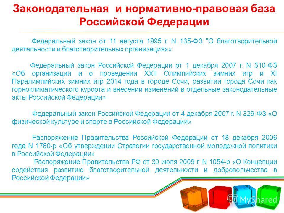 Законодательная и нормативно-правовая база Российской Федерации Федеральный закон от 11 августа 1995 г. N 135-ФЗ