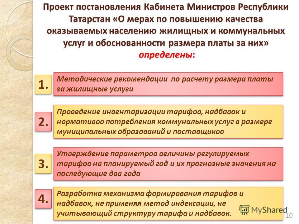 Проект постановления Кабинета Министров Республики Татарстан «О мерах по повышению качества оказываемых населению жилищных и коммунальных услуг и обоснованности размера платы за них» определены: 10 Методические рекомендации по расчету размера платы з