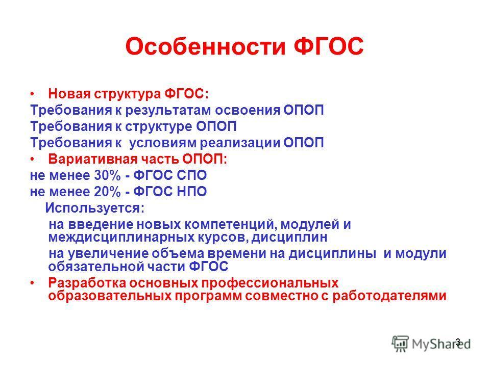 3 Особенности ФГОС Новая структура ФГОС: Требования к результатам освоения ОПОП Требования к структуре ОПОП Требования к условиям реализации ОПОП Вариативная часть ОПОП: не менее 30% - ФГОС СПО не менее 20% - ФГОС НПО Используется: на введение новых