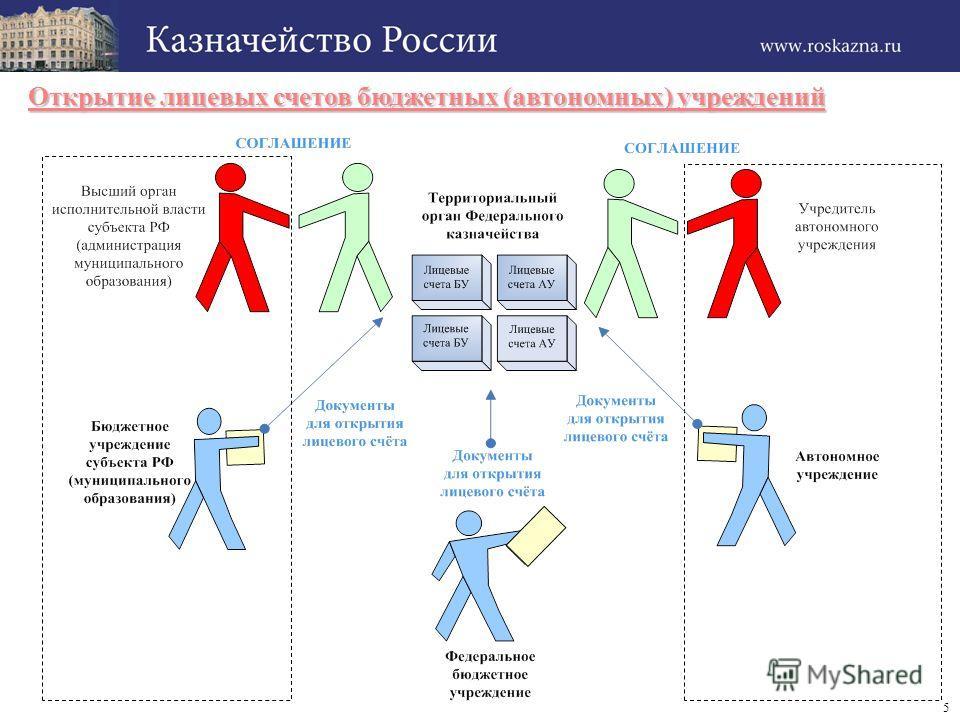 5 Открытие лицевых счетов бюджетных (автономных) учреждений