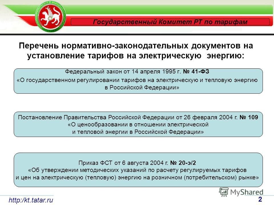 Перечень нормативно-законодательных документов на установление тарифов на электрическую энергию: Федеральный закон от 14 апреля 1995 г. 41-ФЗ «О государственном регулировании тарифов на электрическую и тепловую энергию в Российской Федерации» http:/k