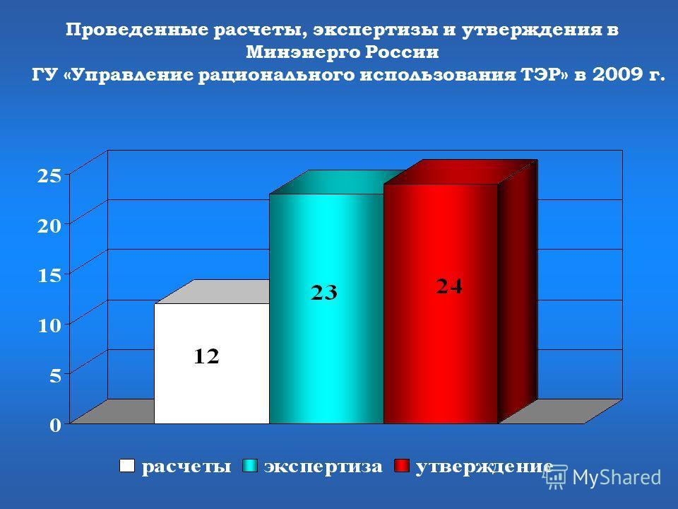 Проведенные расчеты, экспертизы и утверждения в Минэнерго России ГУ «Управление рационального использования ТЭР» в 2009 г.