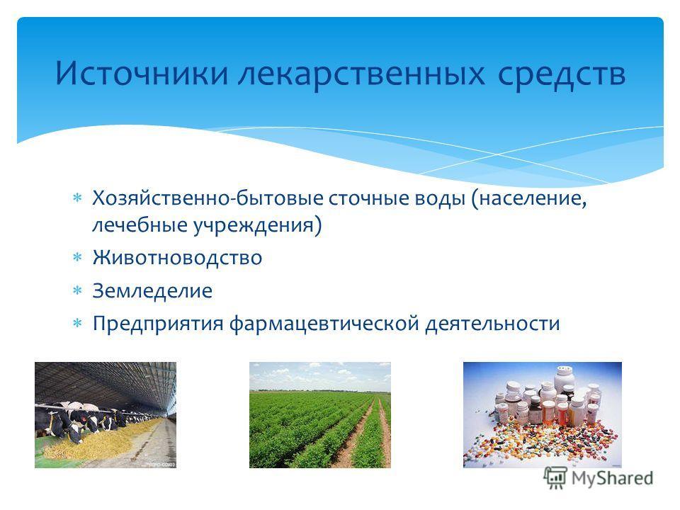 Хозяйственно-бытовые сточные воды (население, лечебные учреждения) Животноводство Земледелие Предприятия фармацевтической деятельности Источники лекарственных средств