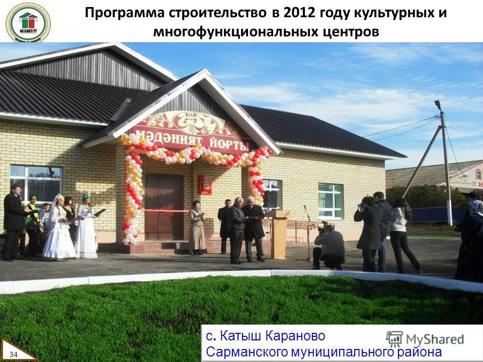 Программа строительство в 2012 году культурных и многофункциональных центров 34 с. Катыш Караново Сарманского муниципального района 34