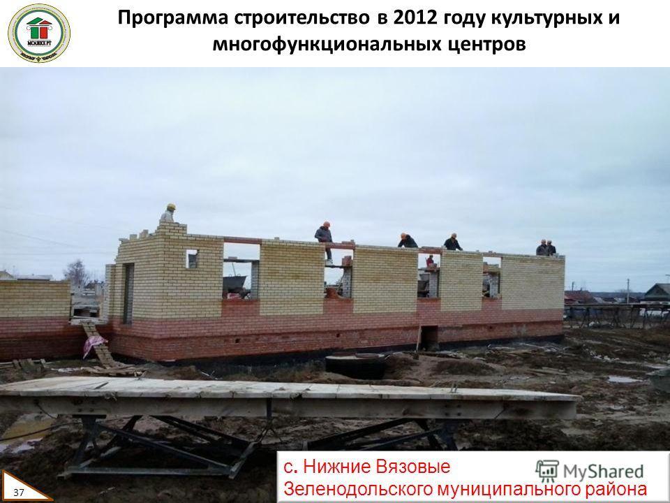 Программа строительство в 2012 году культурных и многофункциональных центров 37 с. Нижние Вязовые Зеленодольского муниципального района 37