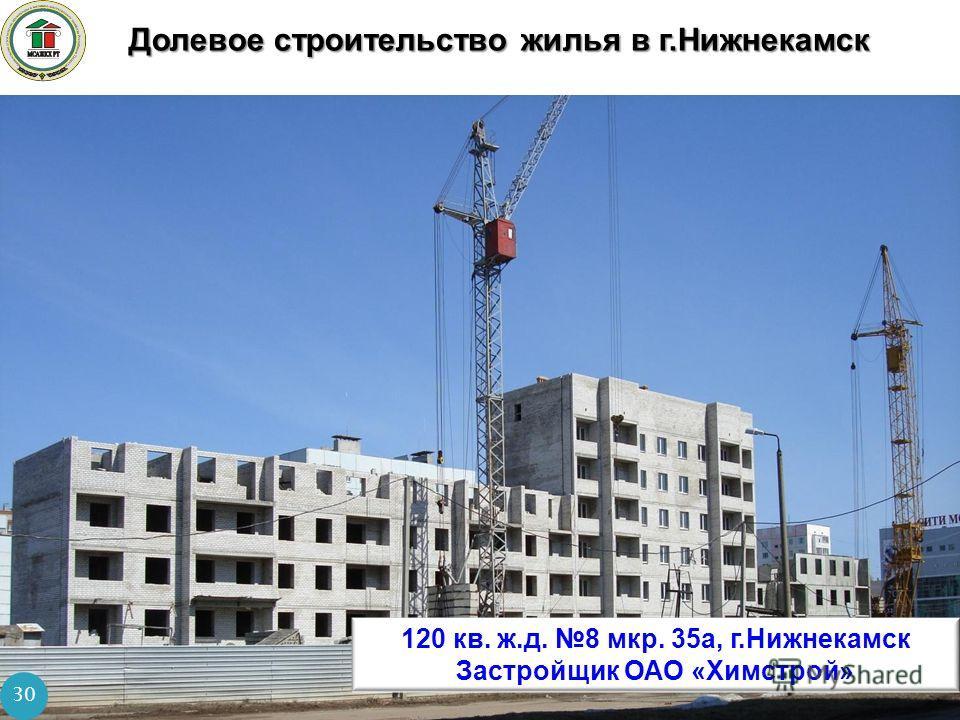Долевое строительство жилья в г.Нижнекамск 30 120 кв. ж.д. 8 мкр. 35а, г.Нижнекамск Застройщик ОАО «Химстрой»