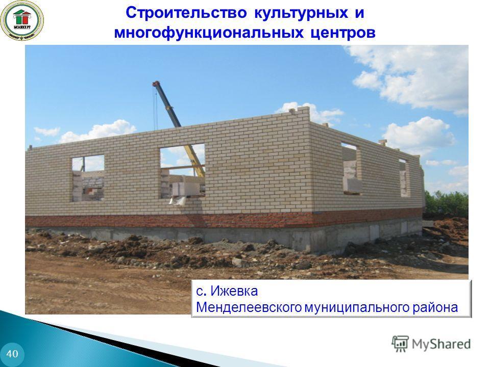 Строительство культурных и многофункциональных центров 40 с. Ижевка Менделеевского муниципального района