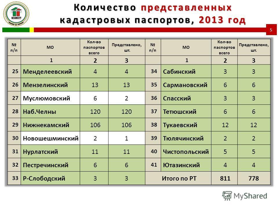 Количество представленных кадастровых паспортов, 2013 год 5