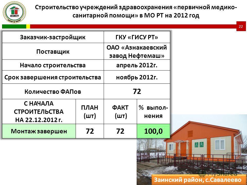 Строительство учреждений здравоохранения «первичной медико- санитарной помощи» в МО РТ на 2012 год 22 Заинский район, с.Савалеево