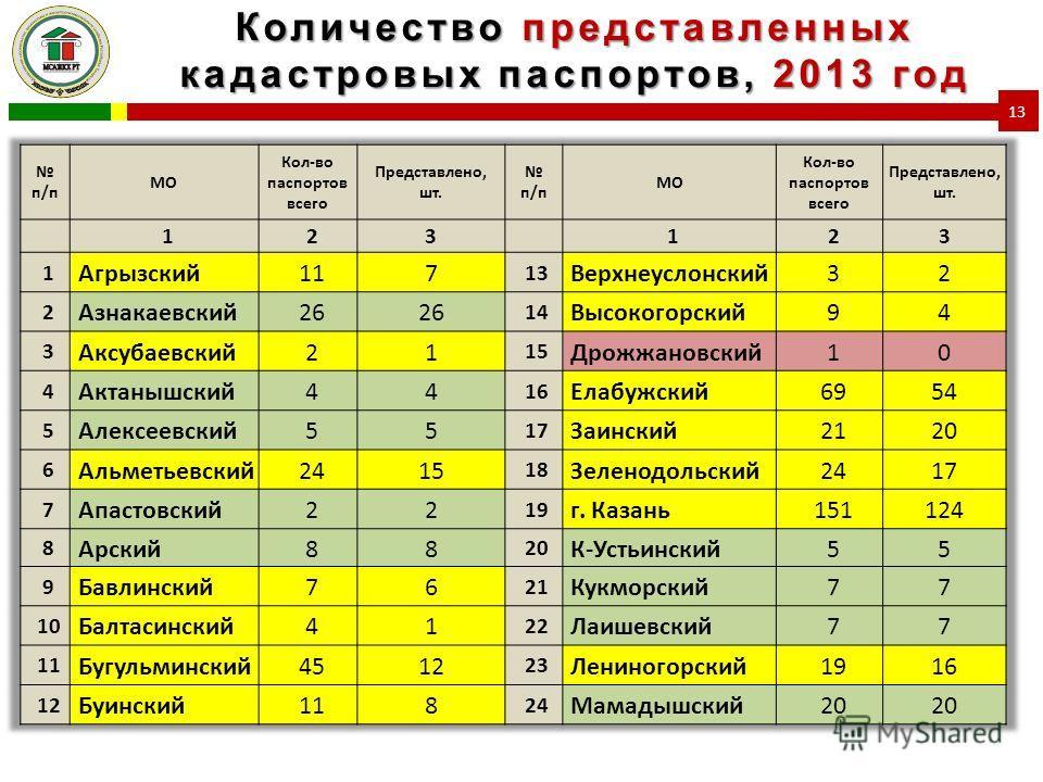 Количество представленных кадастровых паспортов, 2013 год 13