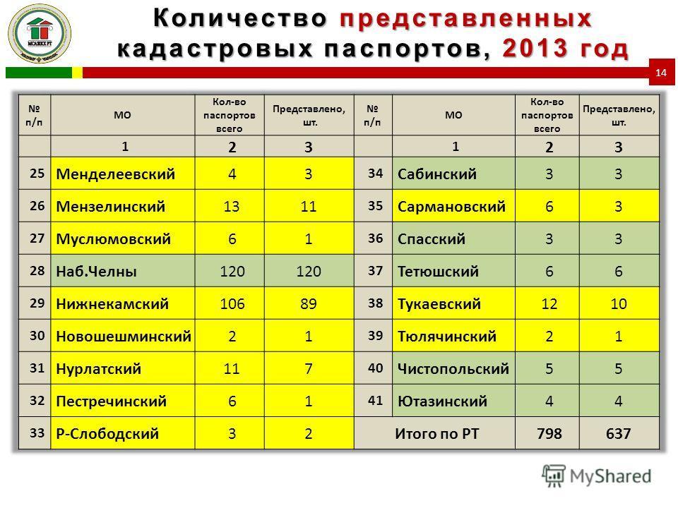 Количество представленных кадастровых паспортов, 2013 год 14