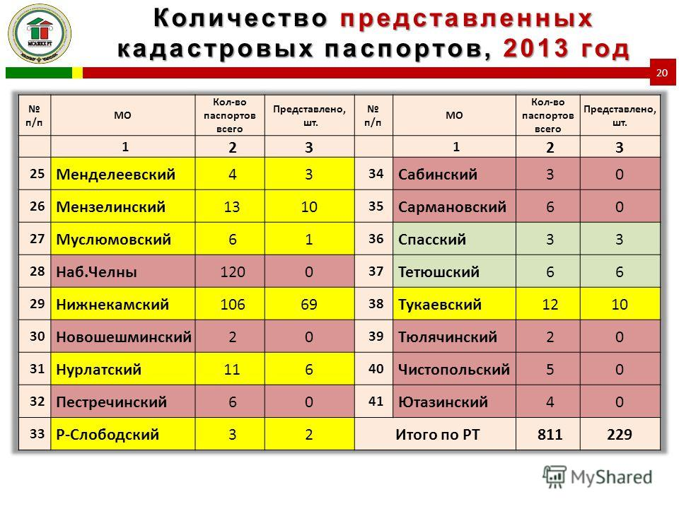 Количество представленных кадастровых паспортов, 2013 год 20