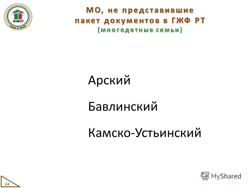 МО, не представившие пакет документов в ГЖФ РТ (многодетные семьи) Арский Бавлинский Камско-Устьинский 24