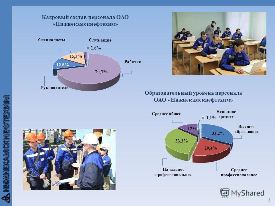 Кадровый состав персонала ОАО «Нижнекамскнефтехим» 3 Образовательный уровень персонала ОАО «Нижнекамскнефтехим»