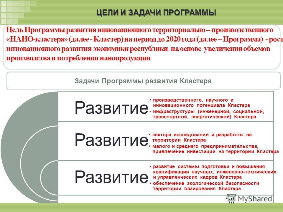 Цель Программы развития инновационного территориально – производственного «НАНО-кластера» (далее - Кластер) на период до 2020 года (далее – Программа) - рост инновационного развития экономики республики на основе увеличения объемов производства и пот