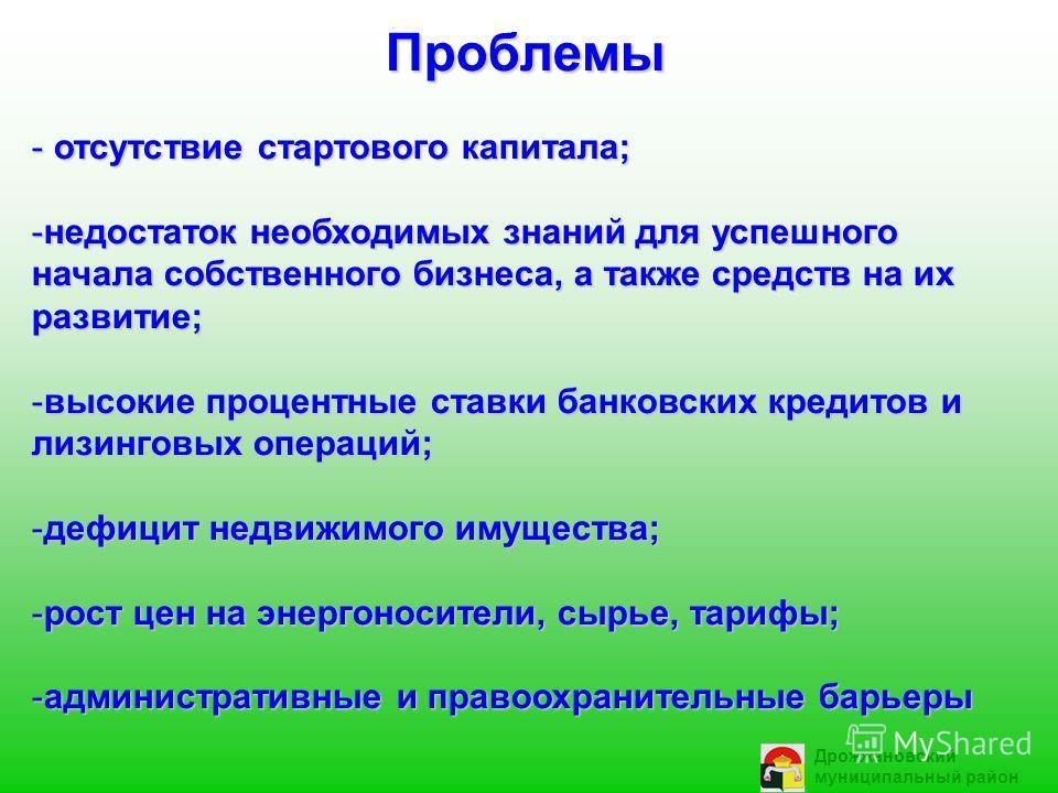 Дрожжановский муниципальный район Проблемы - отсутствие стартового капитала; -недостаток необходимых знаний для успешного начала собственного бизнеса, а также средств на их развитие; -высокие процентные ставки банковских кредитов и лизинговых операци