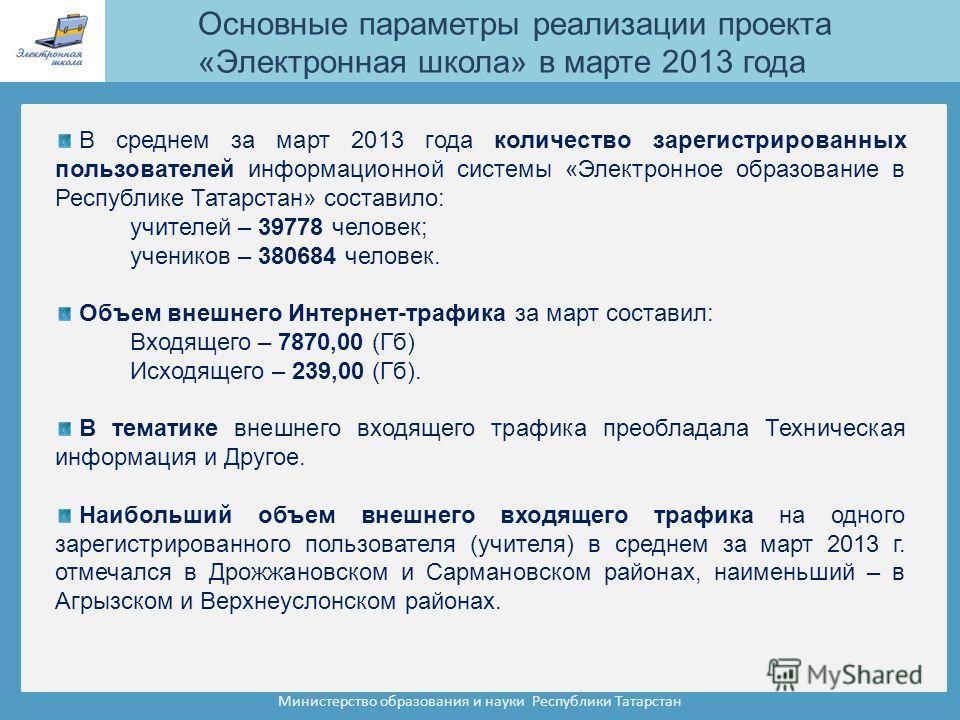 Министерство образования и науки Республики Татарстан В среднем за март 2013 года количество зарегистрированных пользователей информационной системы «Электронное образование в Республике Татарстан» составило: учителей – 39778 человек; учеников – 3806