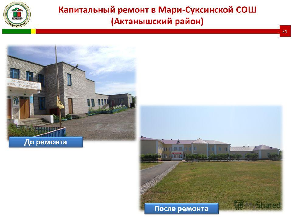 Капитальный ремонт в Мари-Суксинской СОШ (Актанышский район) 21 До ремонта После ремонта