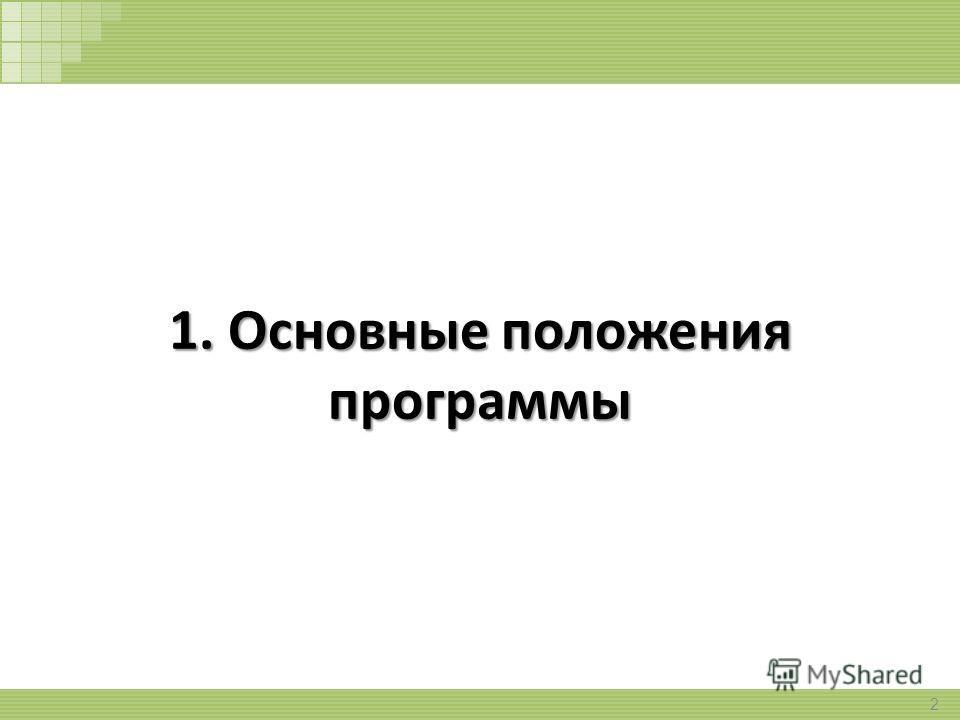 1. Основные положения программы 2