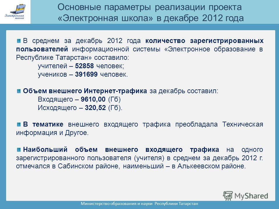 Министерство образования и науки Республики Татарстан В среднем за декабрь 2012 года количество зарегистрированных пользователей информационной системы «Электронное образование в Республике Татарстан» составило: учителей – 52858 человек; учеников – 3