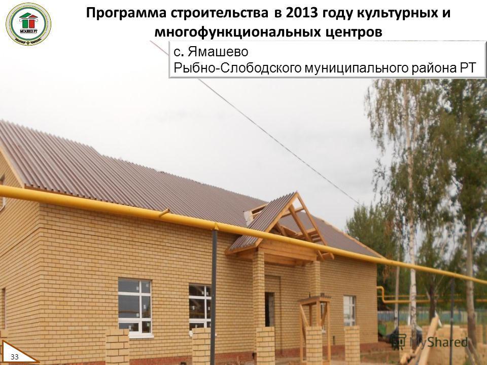 Программа строительства в 2013 году культурных и многофункциональных центров 33 с. Ямашево Рыбно-Слободского муниципального района РТ