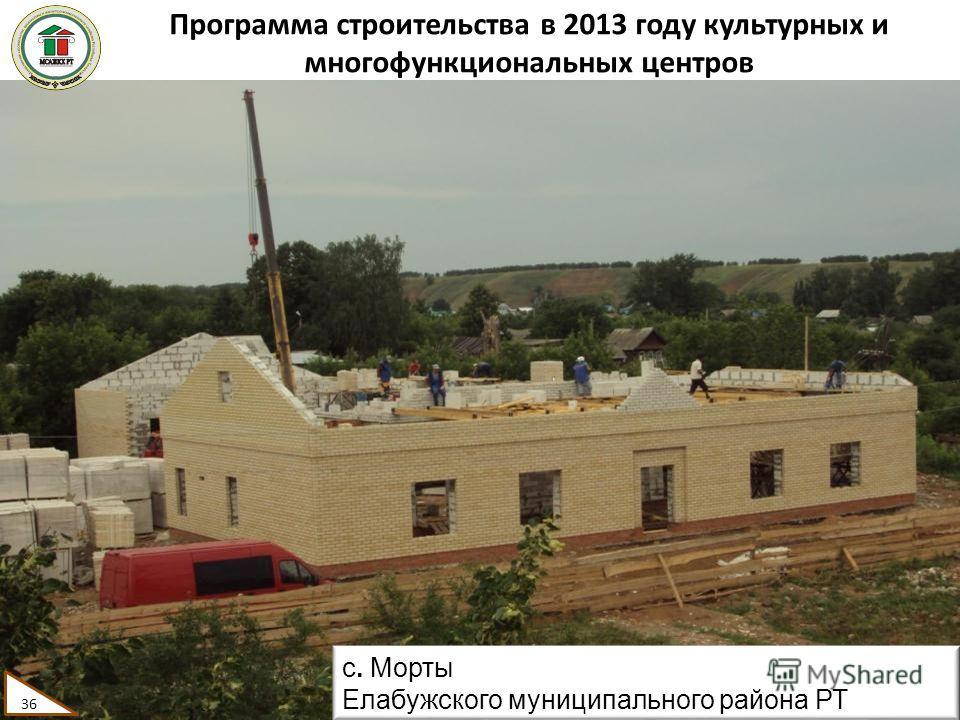 Программа строительства в 2013 году культурных и многофункциональных центров 36 с. Морты Елабужского муниципального района РТ 36