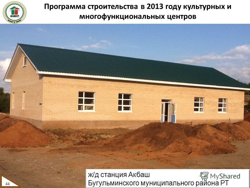 Программа строительства в 2013 году культурных и многофункциональных центров 44 ж/д станция Акбаш Бугульминского муниципального района РТ 44
